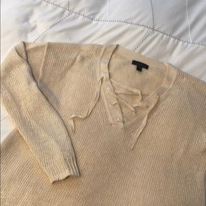J.Crew lace up Linen Sweater